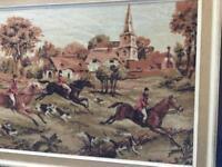 Vintage hunting scene tapestry