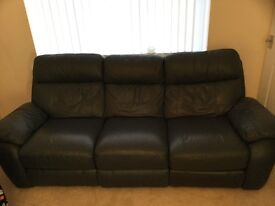 Leather sofa 3 seater recliner