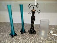 Turquoise slim vase, IKEA lamp, jewelry hanger