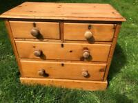 Victorian pine cottage chest of drawers