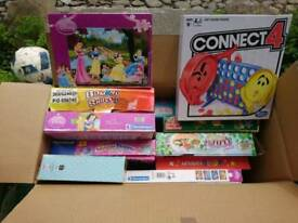 Box of toys, games, jig saws