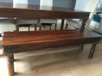 Maharani Dining Table,Coffee Table & 3 seater Bench with 4 Dining Chairs