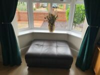 Leather dfs large 2 seater and pouffe