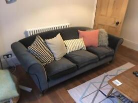 Yanna Three-seater Grey Velvet Sofa