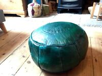Moroccan Pouffe Footstool Leather Authentic