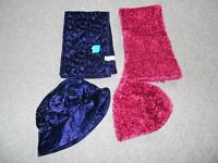 *BRAND NEW* Young Girls Scarf & Hat set (2) - one purple, one pink