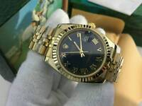 New Swiss Men's Rolex Oyster Datejust Perpetual Automatic Watch, black Roman Numerals dial