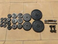 "Set of standard 1"" weight plates, pair of barbells, pair of 2kg dumbbells. All together over 65kg"