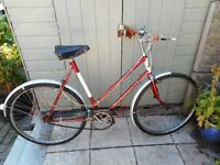 vintage ladies BSA 22 inch frame bike with lock