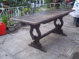 Antique Large Heavy Solid Dark Oak Table Refectory 6 - 8 seats Garden Kitchen
