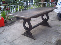 Antique Large Heavy Solid Dark Oak Table Refectory 6 - 8 seats Garden Kitchen