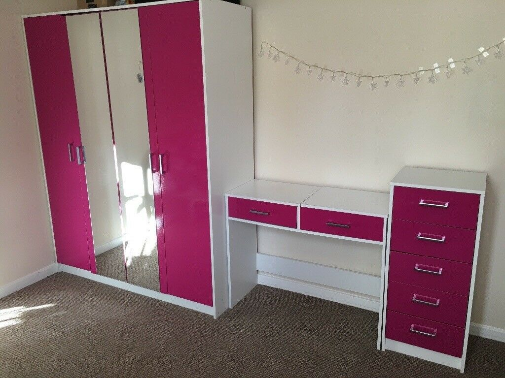 Pink gloss bedroom furniture set double wardrobe shelves