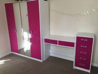 Pink gloss bedroom furniture set (double wardrobe, shelves, dressing table, drawers)