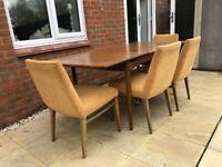 G Plan Dining table and 4 Kofod Larsen chairs, Danish Designer Line Range