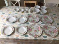 Cath Kidston Floral Dinner Set plates, bowls, milk jug and sugar bowl