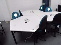 6-person desk, white, comprising 6 desks with integral power sockets and 6 mobile office chairs