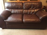 2 x Brown Leather Sofas (Large 3 seater/ 2 seater)