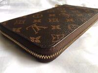 Louis Vuitton Women's Monogram Canvas Leather Zippy Organiser Wallet Brown