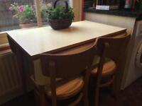 1950s Formica kitchen table and chairs drop leaf