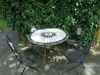 Large mosaic table and 4 folding chairs