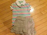 Girls Tommy polo and khaki skirt size 5