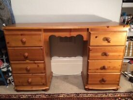 STRONG PINE DESK WITH 8 DRAWERS
