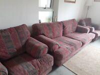 Large sofa, 2 chairs.
