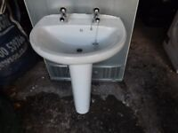 Roca Bathroom Sink with Pedestal Taps and pipes