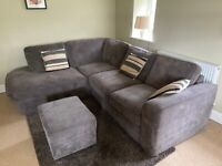 Fabric Corner Sofa with Footstool