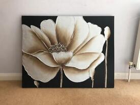 Floral black canvas print