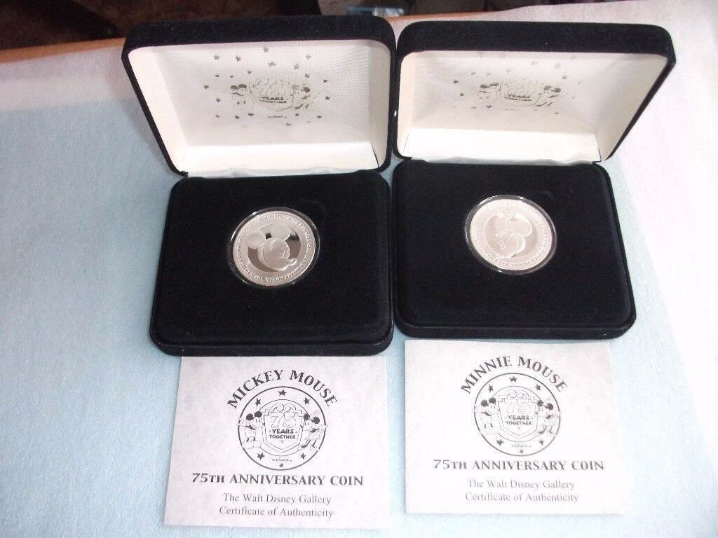 Pair of SILVER Mickey & Minnie Mouse 75th Anniversary Coins. Still In Boxes with Certificates
