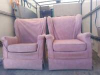 parker knoll armchairs x 2 pink throw overs