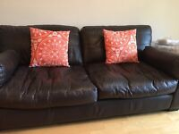 Chocolate brown Italian leather suite for quick sale at £200