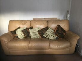 Mustard leather sofa with 2 reclining chairs