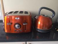 Breville Rio Sunset kettle and 4 slice toaster