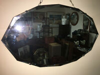 Superb Large Vintage 1930s Art Deco Frameless Scalloped Edge Bevelled Wall Mirror
