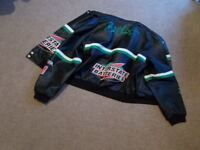 NASCAR RACER AUTOGRAGHED JACKET. LEATHER/CLOTH REVERSABLE.