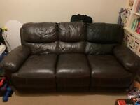 SOLD. FREE - Reid Furniture 3 Seater Reclining Leather sofa