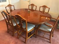 Genuine Bradley Yew Wood Dining Table, Adjustable, with Four Chairs + Two Carver Chairs
