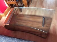 DFS wooden and glass curvy coffee table (£100)