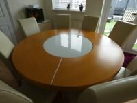 6-8 Seater Large Round Dining Table & Chairs - Light Oak, Cream Chairs, Lazy Susan with LED Lights