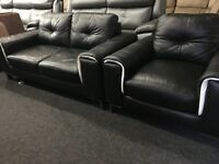 New/Ex Display Dfs Black Leather Sphere 2 Seater Sofa + 1 Seater Chair