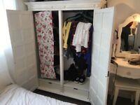 White vintage wooden wardrobe