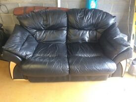 Balck leather 3+2 seater