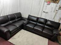 Brown leather 3 and 3 seater identical sofas good condition