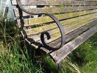 Iron framed vintage park bench