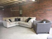 Next cream corner curve sofa - ex display - can deliver