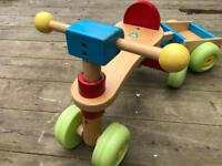 Early Learning wooden trike and trailer