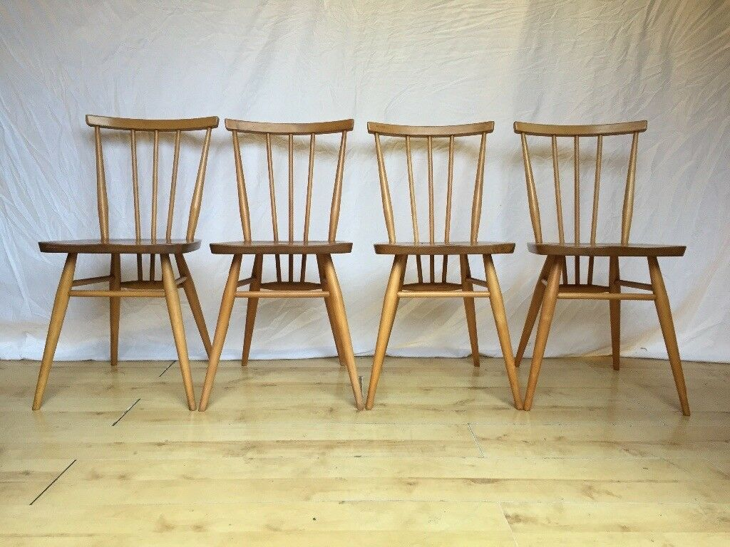 Set of four Vintage 190s Ercol 391 everyday stick back dining kitchen chairs