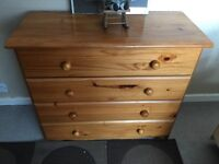 """Pine Chest of Drawers 33"""" length 14"""" depth 28"""" high"""